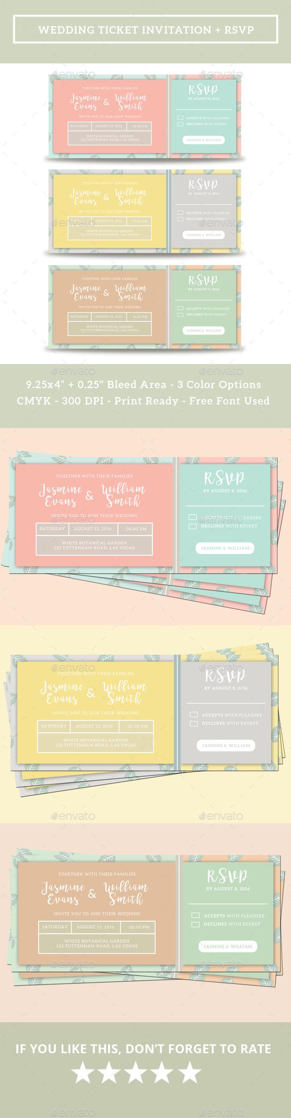 Wedding Ticket Invitation + RSVP