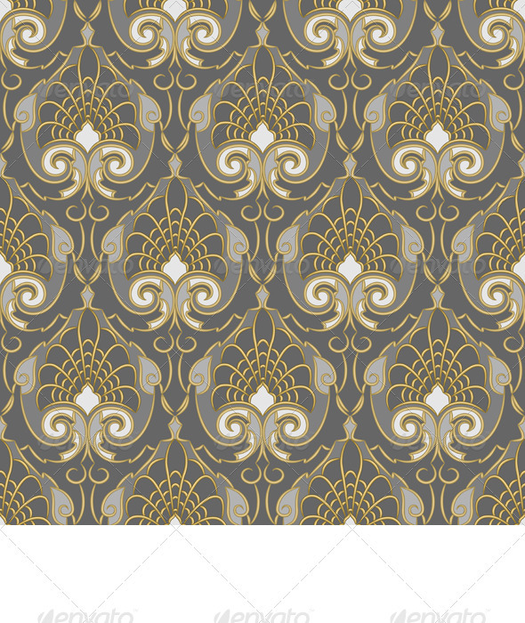 Seamless Gold pattern on a Silver background