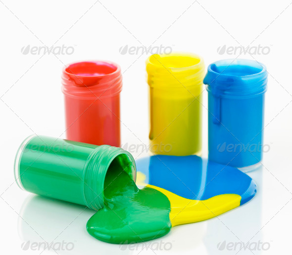 Paint of various colors spilled - Stock Photo - Images