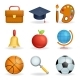 Realistic School Icons Education Symbols Set Line