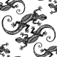 Seamless Pattern With Geckos.