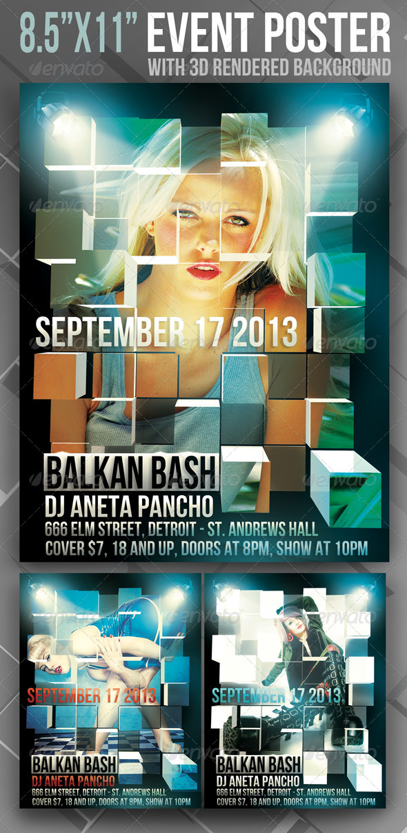 "8.5""x11"" Event Poster with 3D Rendered Background - Events Flyers"