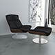 Black leather KARA armchair