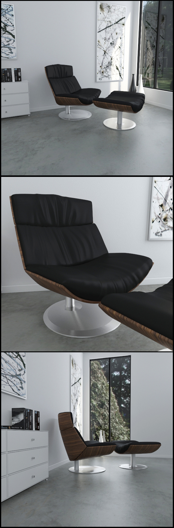 Black leather KARA armchair - 3DOcean Item for Sale