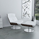 White leather KARA armchair