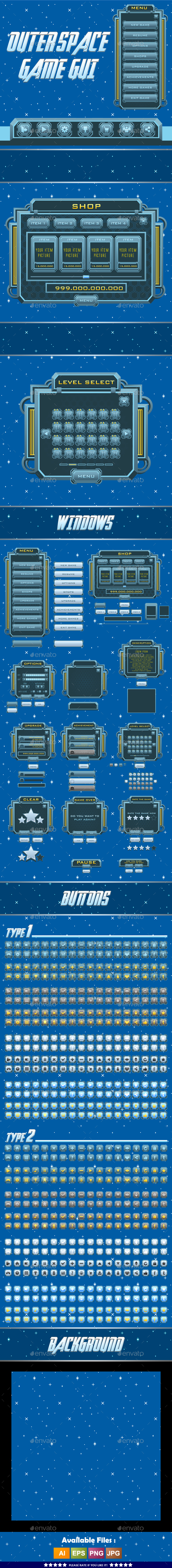 Space Game Kit - Sprites, Backgrounds, Tilesets and GUI (Game Kits)
