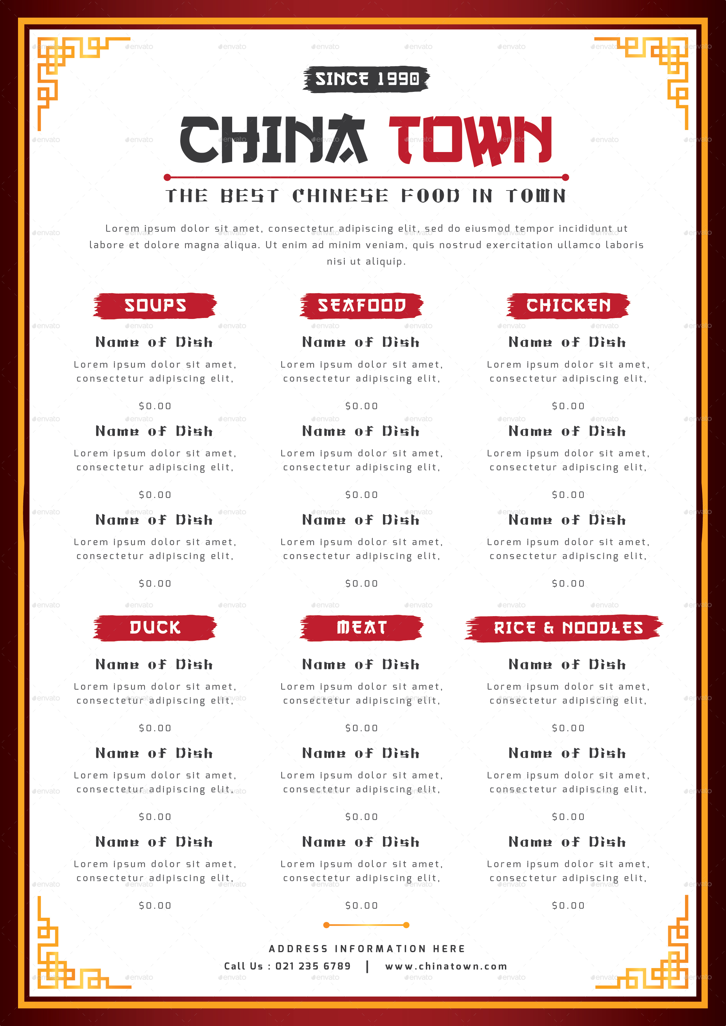 Chinese food menu by totemdesigns graphicriver for Asian 168 cuisine menu