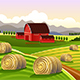 Farm Scene with Rolled Hays