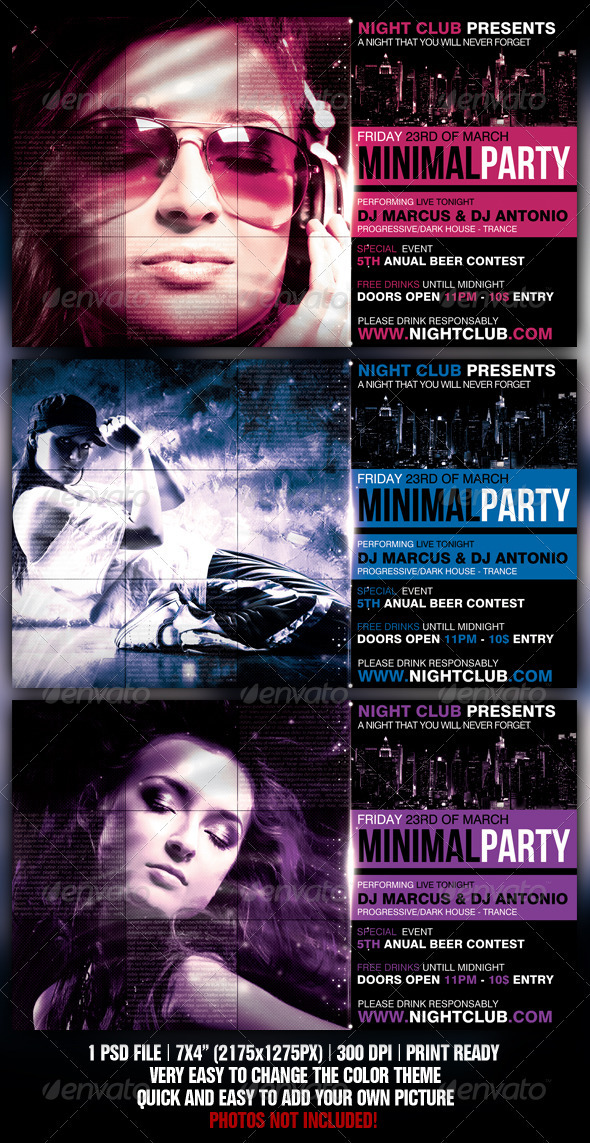 Minimal Party Flyer - Flyers Print Templates