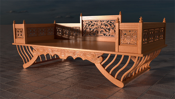 Classic Thai Wood Couch - 3DOcean Item for Sale