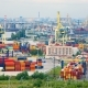 timelapse of the seaport with cranes, ships, containers and cargo in Saint-Petersburg, Russia