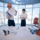 Business, Architecture And Office Concept. Two Smiling Businessmen, Architects, Constructors Man And