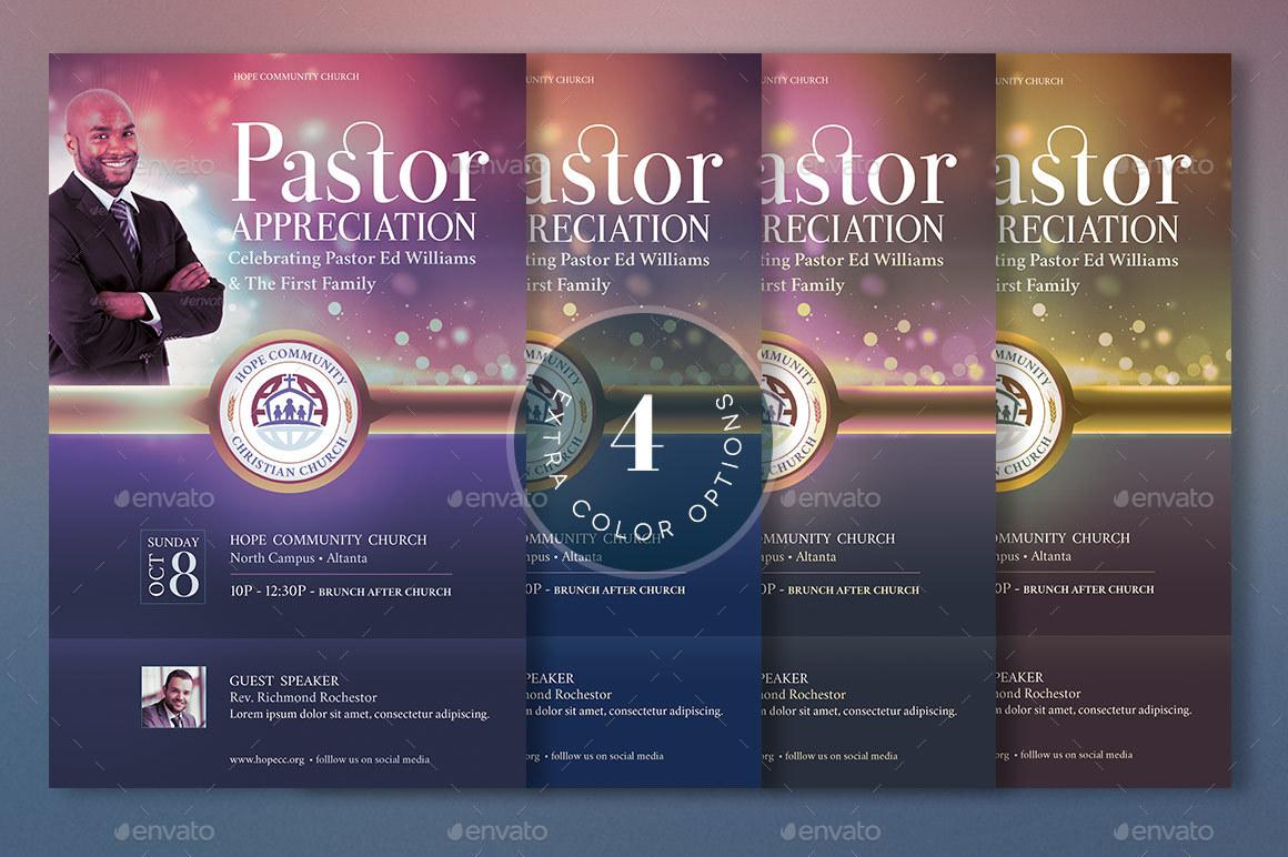 hope pastor appreciation flyer poster template by godserv2
