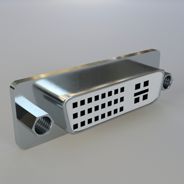 DVI-I dual link Panel Mount Connector - 3DOcean Item for Sale