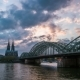 Sunset  Of Cologne Cathedral And Hohenzollern Bridge