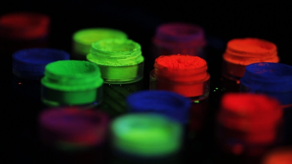 VideoHive Jars With Colored Fluorescent Powder In Ultra-violet Light 17514143
