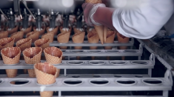 Download  Shot Of a Moving Belt With Ice-cream Cones And a Worker Taking Them. Food Industry. nulled download