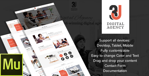 3D Digital Agency - Multipurpose Muse Theme