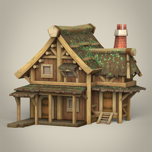Game Ready Wooden House - 3DOcean Item for Sale