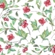 Watercolor Seamless Pattern With Red Berries