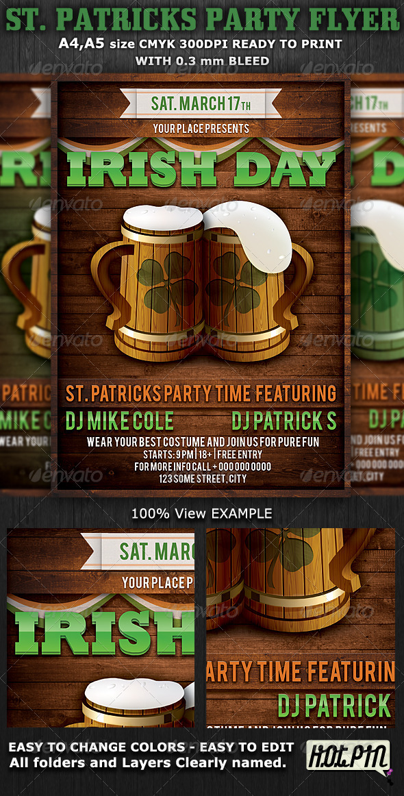 St. Patricks Party Flyer & Poster Template v4 - Flyers Print Templates