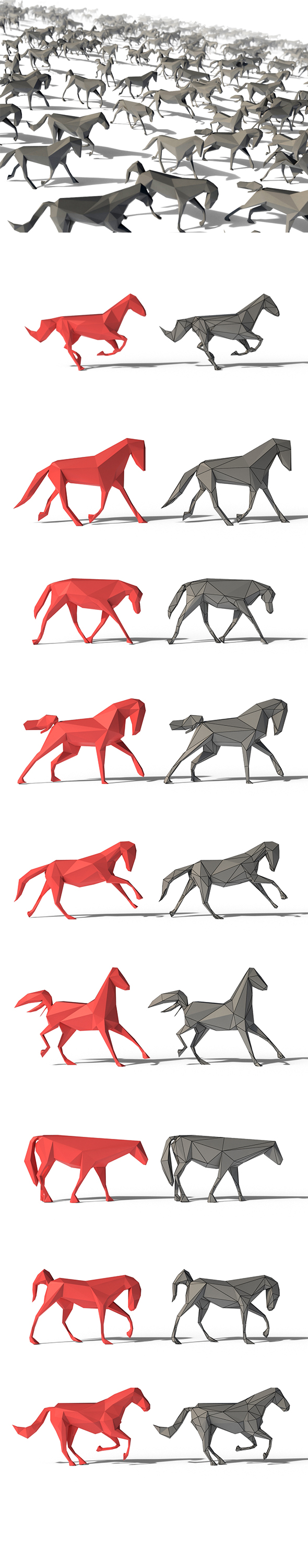 Low Poly Horses Pack - 3DOcean Item for Sale