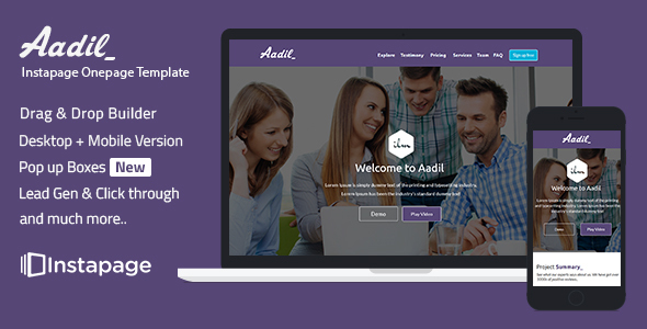 instapage Onepage Template – Aadil (Instapage)