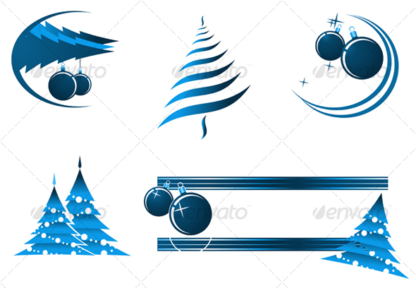 Christmas decorations and banners for design - Decorative Vectors