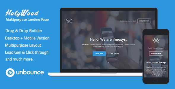 Unbounce Multipurpose Landing Page Template - Holy Wood