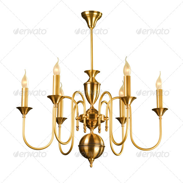 Vintage chandelier isolated on white - Stock Photo - Images