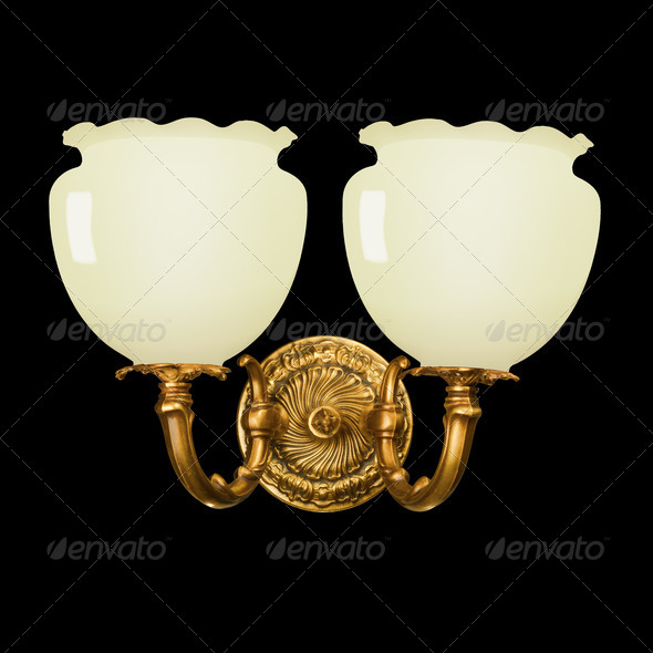 vintage wall lamp isolated on black - Stock Photo - Images