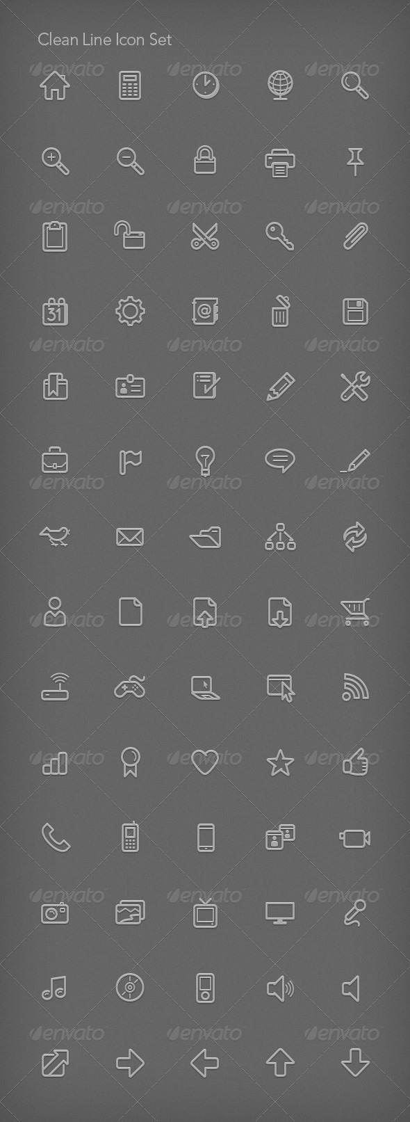 Clean Line Icon Set - Web Icons