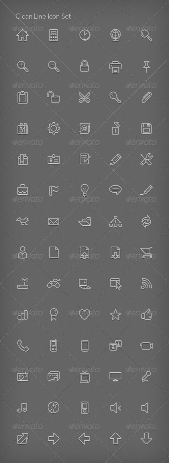 GraphicRiver Clean Line Icon Set 82130
