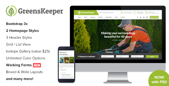 GreensKeeper - Gardening & Landscaping Responsive HTML5 Template