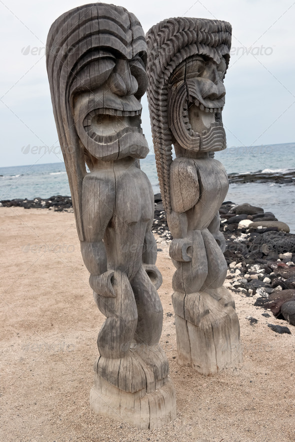 Pu'uhonua O Honaunau  Historic National Park, - Stock Photo - Images