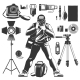 Vintage Photographer Icon Set