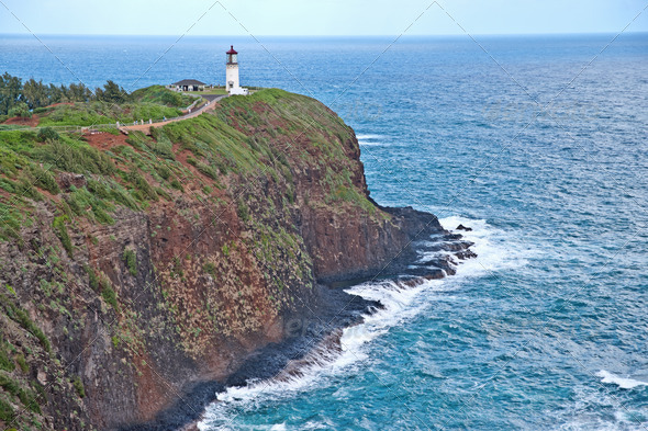 Kilauea Lighthouse on Kauai, Hawaii - Stock Photo - Images