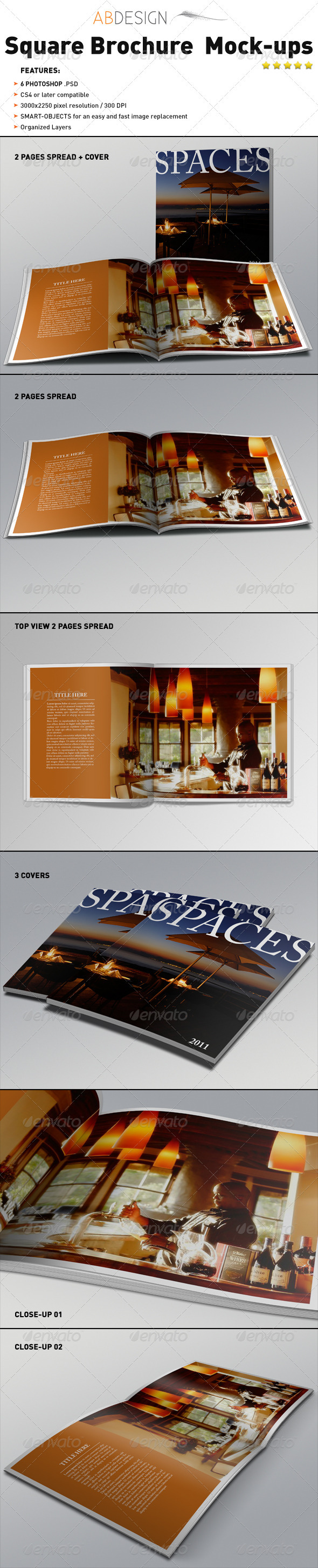 GraphicRiver Realistic Square Brochure Mock-ups Templates 1744235