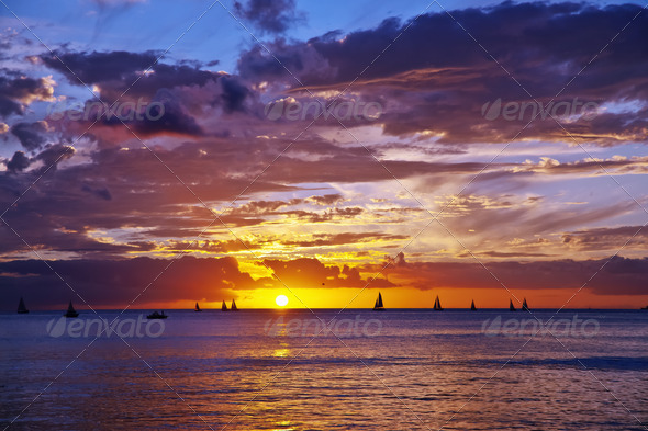 sunset in Hawaii - Stock Photo - Images