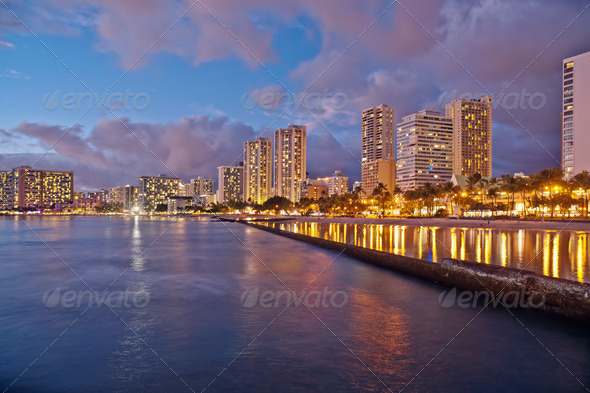Waikiki Beach, Oahu Island Hawaii, cityscape sunset - Stock Photo - Images