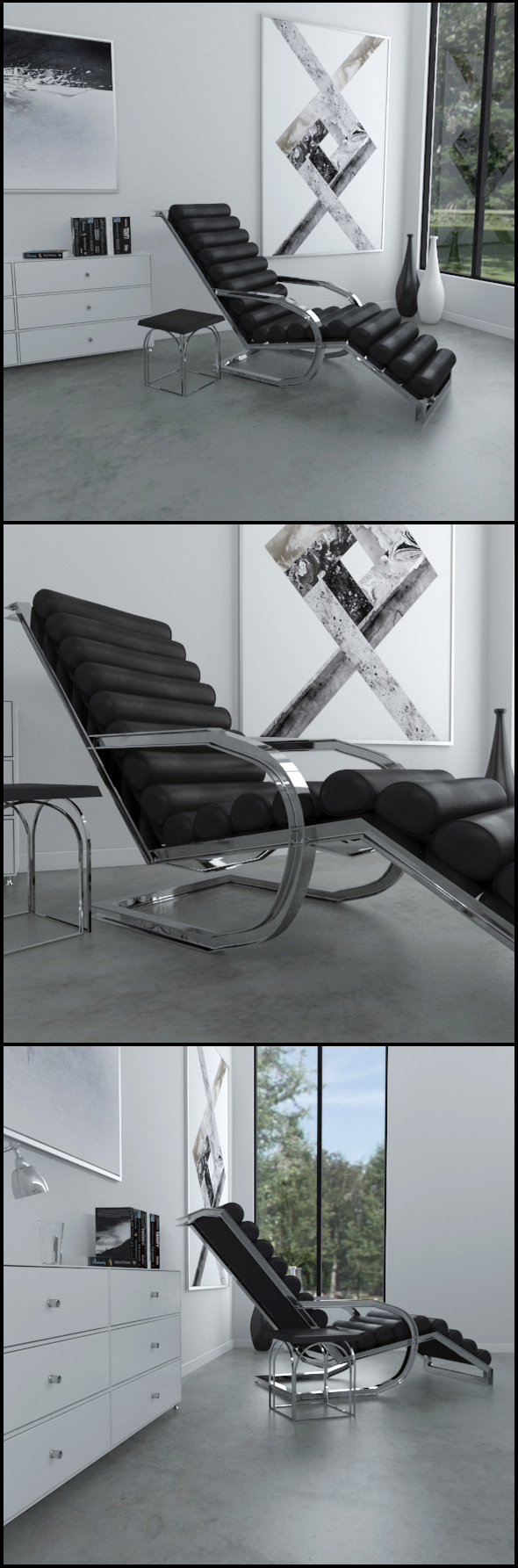Black leather lounge chair with side table - 3DOcean Item for Sale