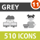 510 Vector Greyscale Icons Bundle (Vol-11)