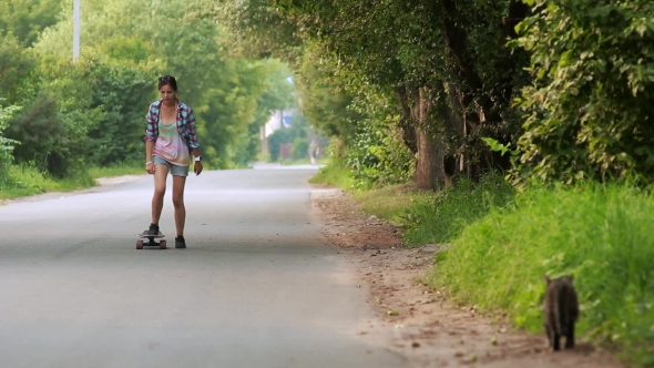 Download Beautiful Woman Riding On Longboard nulled download
