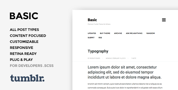 Basic 3 - One Column, Blogging Tumblr Theme
