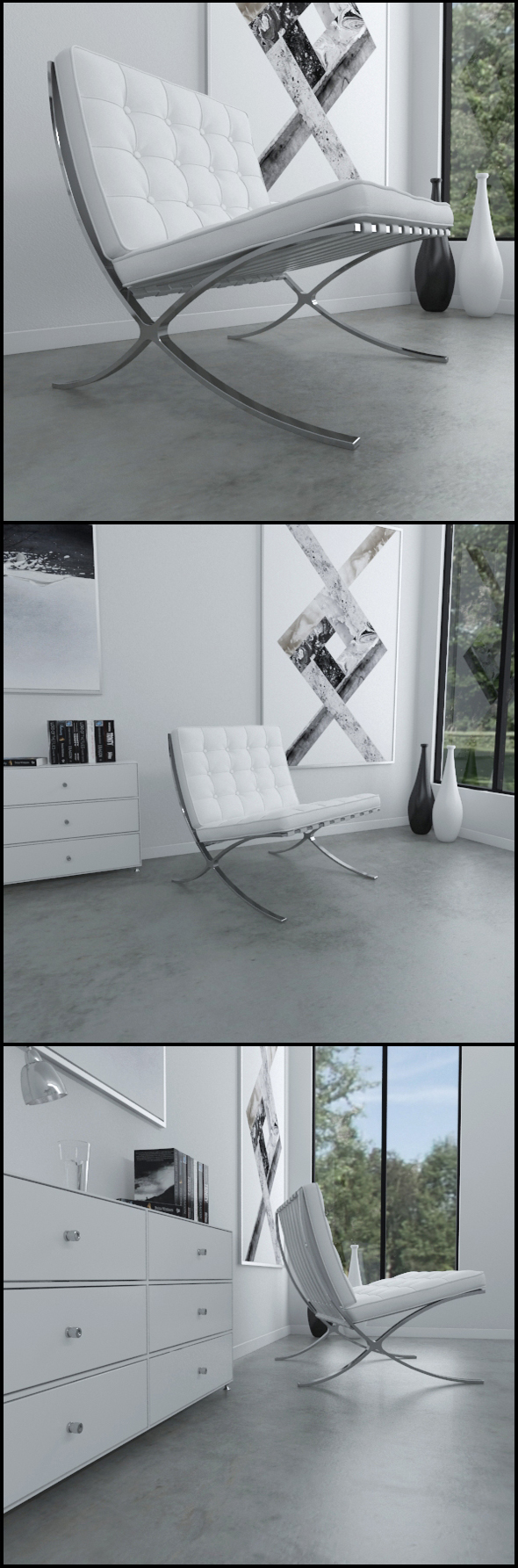Barcelona chair (White leather) - 3DOcean Item for Sale