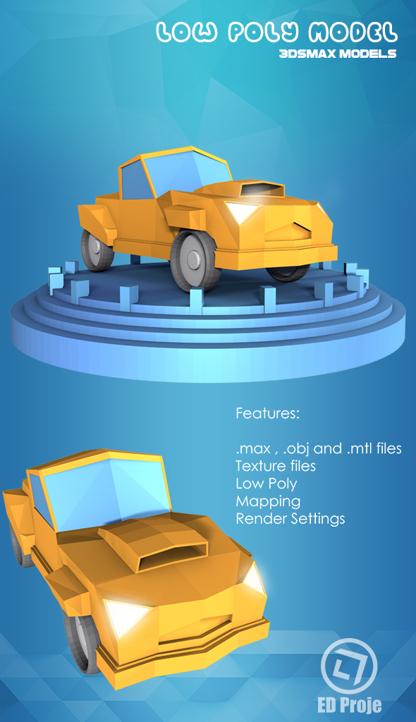 Low Poly Car Model 02 - 3DOcean Item for Sale