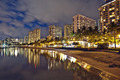 Waikiki Beach, Oahu Island Hawaii, cityscape sunset - PhotoDune Item for Sale