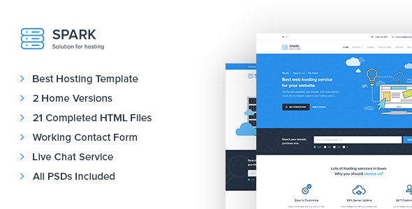 Spark - Responsive Hosting & Technology Site Template