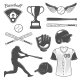 Download Vector Baseball Monochrome Elements Set