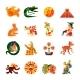Maya Symbols Flat Icons Set